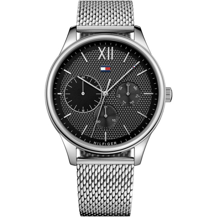 Tommy Hilfiger Black Dial Stainless Steel Mesh Men's Watch 1791415