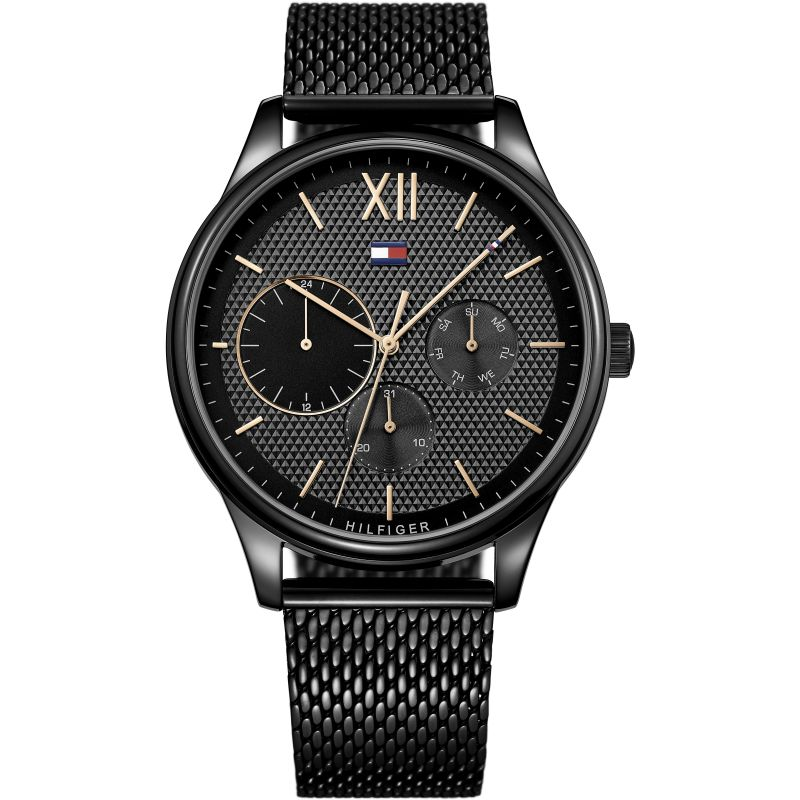 Tommy Hilfiger Black Dial Stainless Steel Mesh Men's Watch 1791420