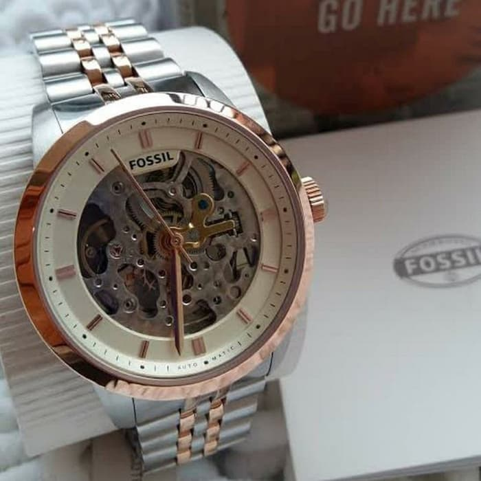 Fossil Townsman Automatic Beige Skeleton Dial Watch ME3075