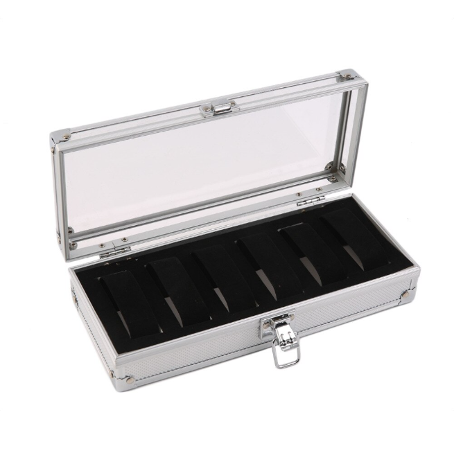 6 Grid Insert Slots Watch Storage Aluminium Case