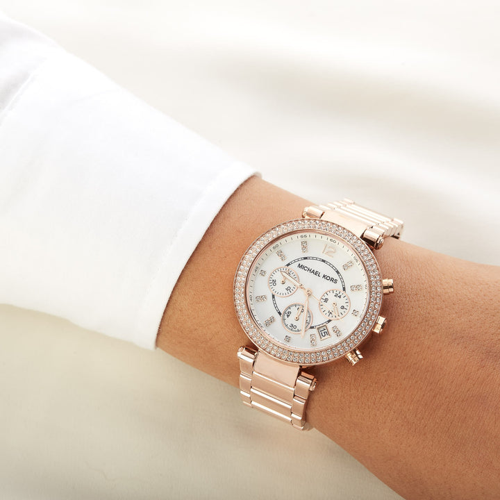 Michael Kors Parker Chronograph Dial Ladies Watch MK5491 Water resistance: 50 meters / 165 feet  Movement: Quartz