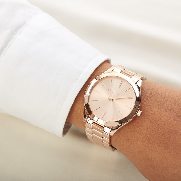 Michael Kors Slim Runway Rose Gold-tone Dial Unisex Watch MK3197 Water resistance: 50 meters / 165 feet Movement: Quartz