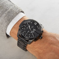 Diesel Mega Chief DZ4283 316L black ion-plated stainless steel 50ATM (50m) water resistant Japan movements with a chronograph and date function
