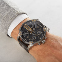 Diesel Big Daddy DZ7348 316L gunmetal-plated stainless steel & genuine leather strap 10ATM (100m) water resistant 4 Time zones (GMT)