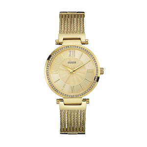 Guess Soho Crystal Gold Dial Stainless Steel Ladies Watch W0638L2