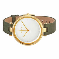 Skagen Tanja Silver Dial Olive Green Leather Ladies Watch SKW2483