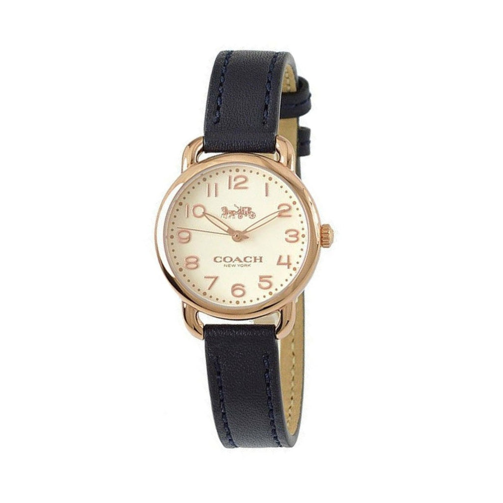 Coach Delancey Gold Dial Blue Leather Strap Ladies Watch 14502250