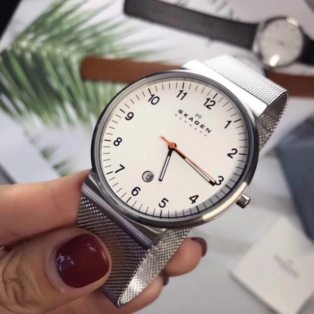 Skagen White Dial Stainless Steel Mesh Men's Watch SKW6025