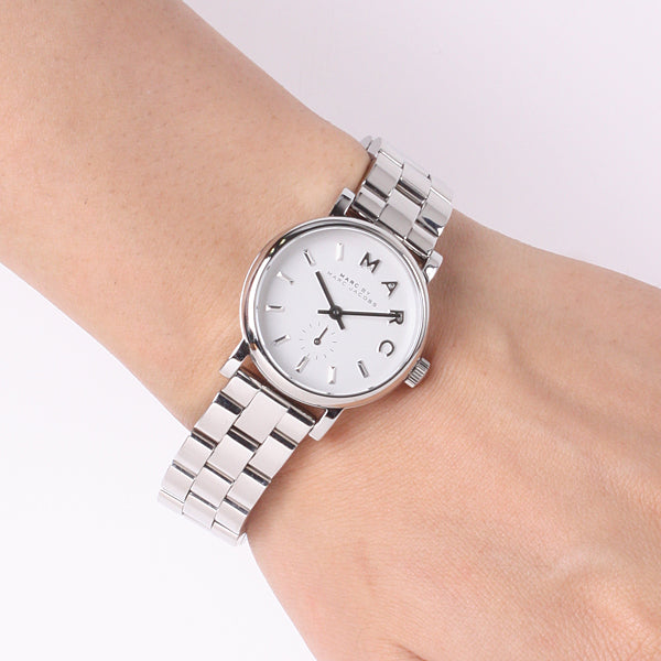 Marc Jacobs Baker White Pearlized Dial 28mm Ladies Watch MBM3246