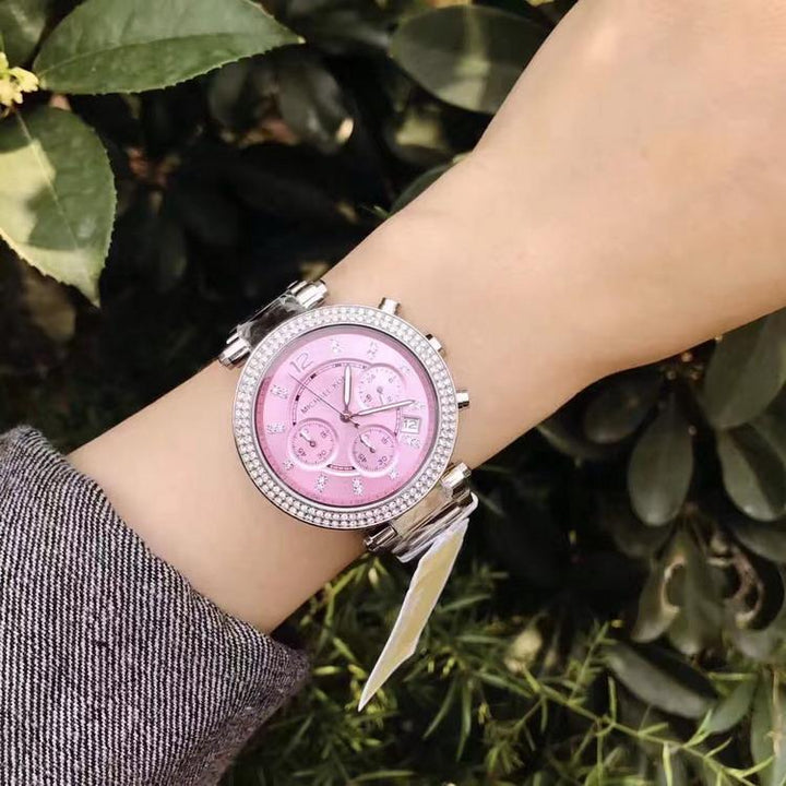 Michael Kors Parker' Chronograph Pink Dial Ladies Watch MK6105