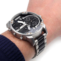 Diesel Big Daddy DZ7349 316L Silver and black stainless steel 30m water resistant 4 time zones