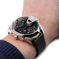 Diesel Big Daddy DZ7376 316L stainless steel & genuine leather strap 10ATM (100m) water resistant 4 Time zones (GMT)