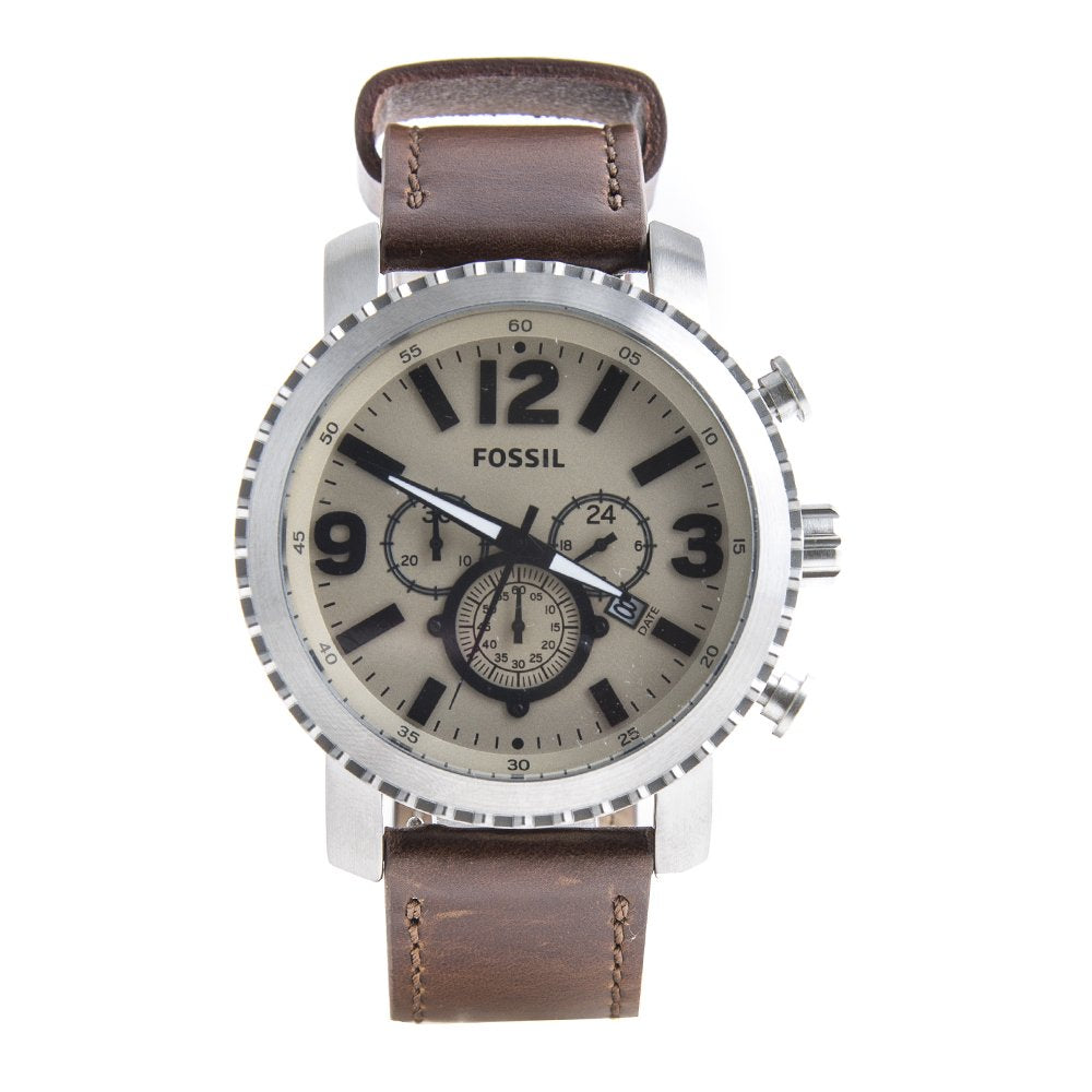 Fossil Big Face Chronograph Dial Leather Strap Men's Watch BQ2101