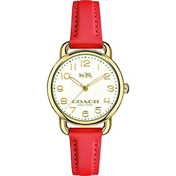 Coach Delancey Silver Dial Red Leather Strap Ladies Watch 14502253
