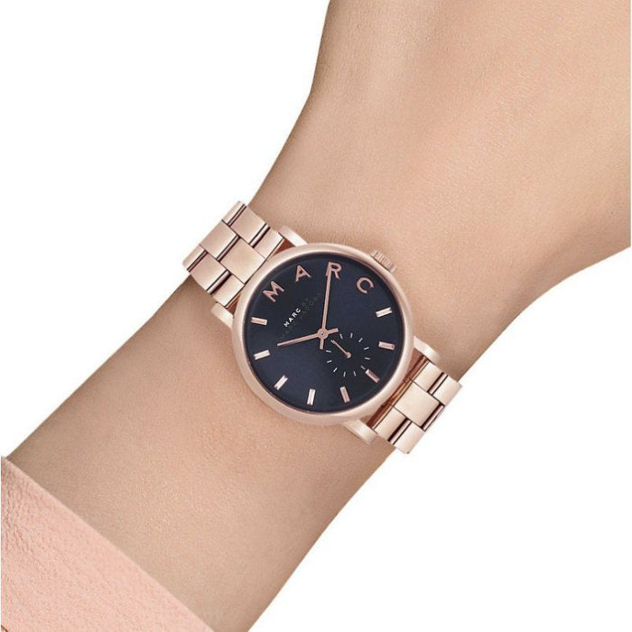 Marc Jacobs Online Baker Navy Dial Rose Gold-tone 36mm Ladies Watch