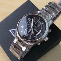 Guess Exec Chronograph Dial Silver-Tone Men's Watch W0075G1