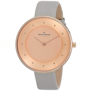 Skagen Gitte Rose Dial Leather Strap Women's Watch SKW2139