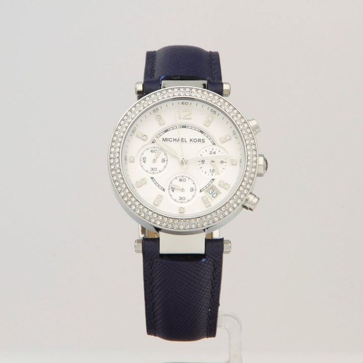 Michael Kors Parker Chronograph Dial Navy Leather Ladies Watch MK2293