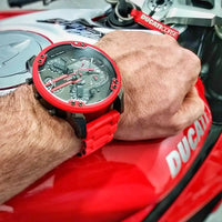 Diesel Big Daddy Watches DZ7370 316L gunmetal stainless steel with red silicone link cover strap 4 Time zones 30m water resistant