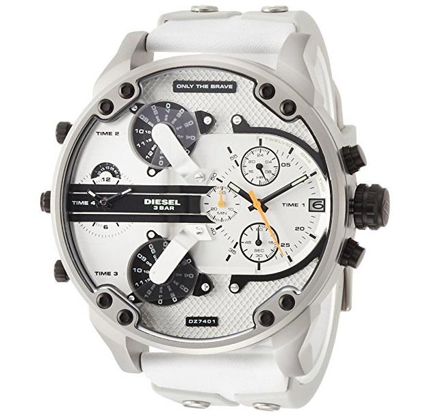 Diesel Big Daddy DZ7401 316L stainless steel 30m water resistant 4 time zones
