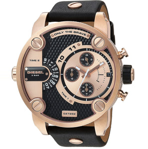 Diesel Little Daddy DZ7282 316L rose gold stainless steel & genuine leather strap 3ATM (30m) water resistant Dual Time zones (GMT)