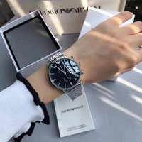 Emporio Armani Chronograph Black Dial Stainless Steel Men's Watch AR0389