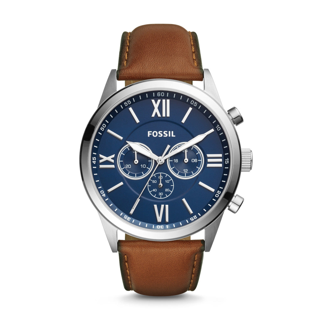 Fossil Flynn Chronograph Dial Brown Leather Watch BQ2125