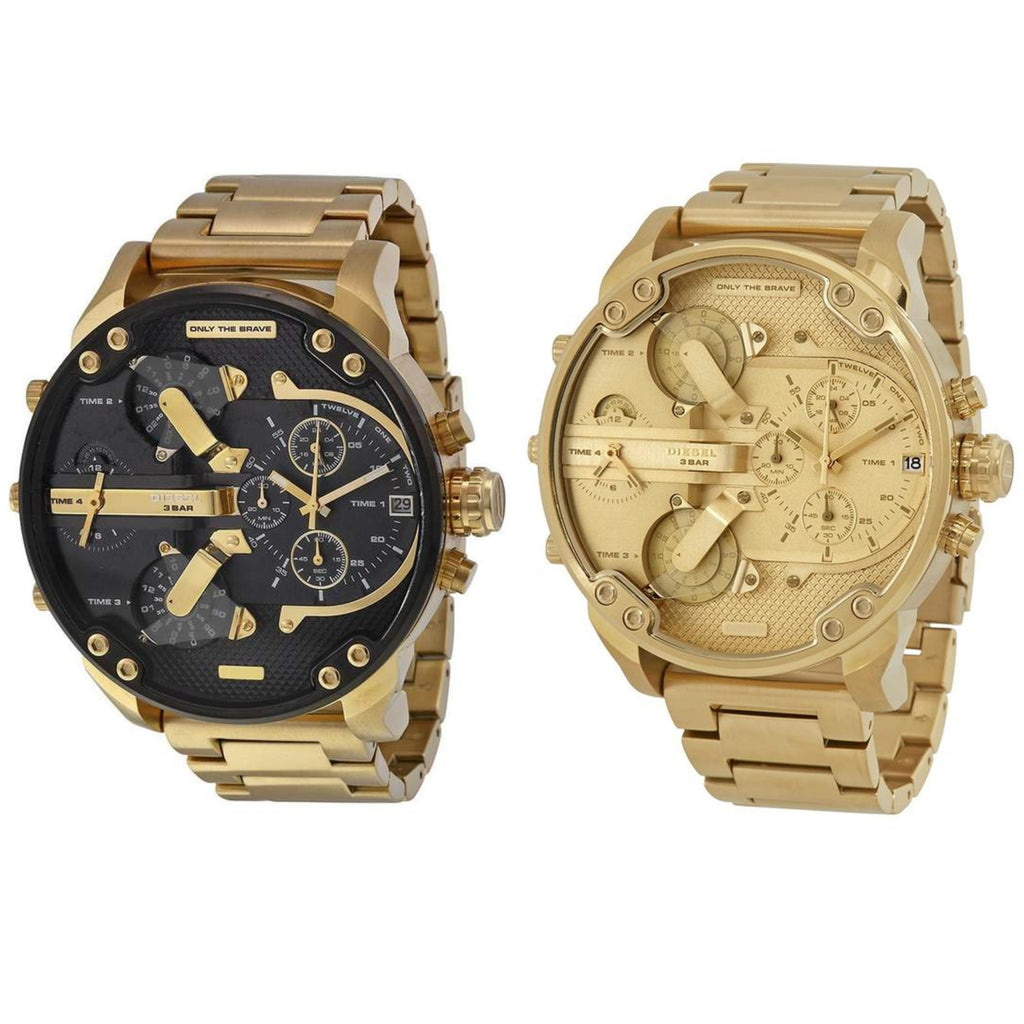 Set of 2 Diesel Big Daddy Gold Watches DZ7333 And DZ7399