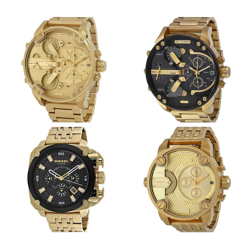 Set of 4 Diesel Big Daddy Gold Watches DZ7333, DZ7399, DZ7287 and DZ7378