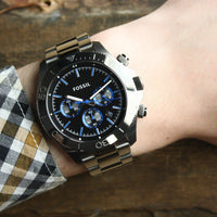 Fossil Retro Traveler Chronograph Black Dial Ion-plated Men's Watch CH2869