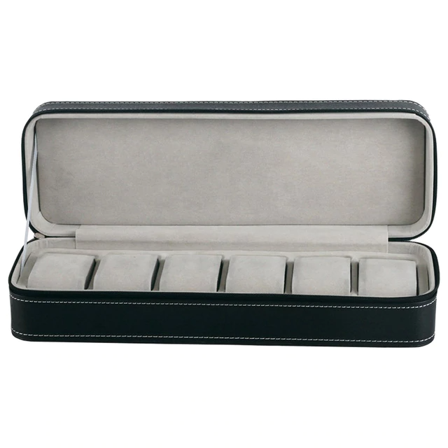 6/10/12 Slots Zipper Closure Watch Storage Box