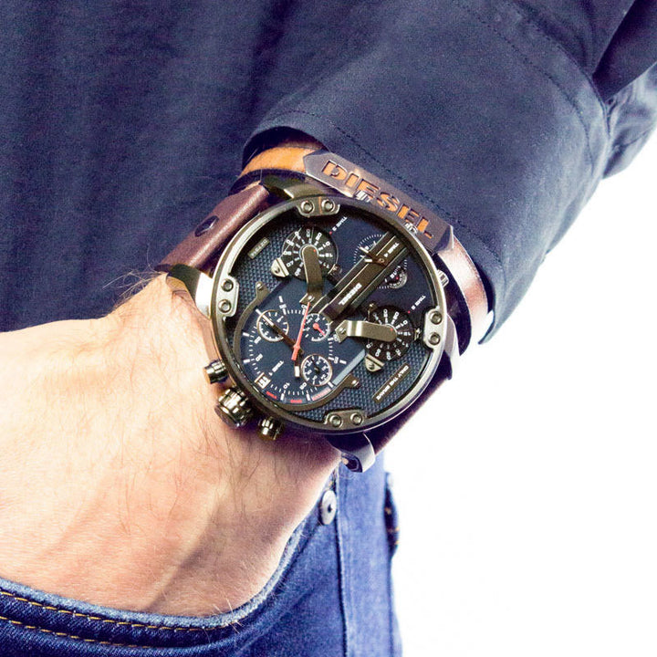 Diesel Big Daddy DZ7314 gunmetal Stainless Steel And Brown Genuine Leather Strap 4 Time zones 30m water resistant
