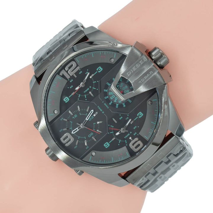 Diesel Uber Chief DZ7372 316L gunmetal stainless steel 10ATM (100m) water resistant 4 Time zones (GMT)