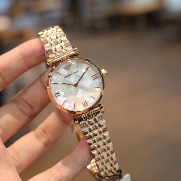 Emporio Armani Mother of Pearl Dial Rose Gold Ladies Watch AR11110