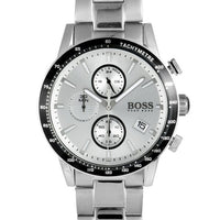 Hugo Boss Rafale Chronograph Silver Dial Men's Watch 1513511 Water resistance: 50 meters / 165 feet Movement: Quartz