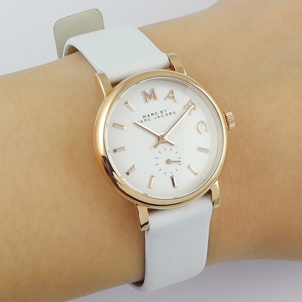 Marc Jacobs Baker White Leather Strap 28mm Ladies Watch