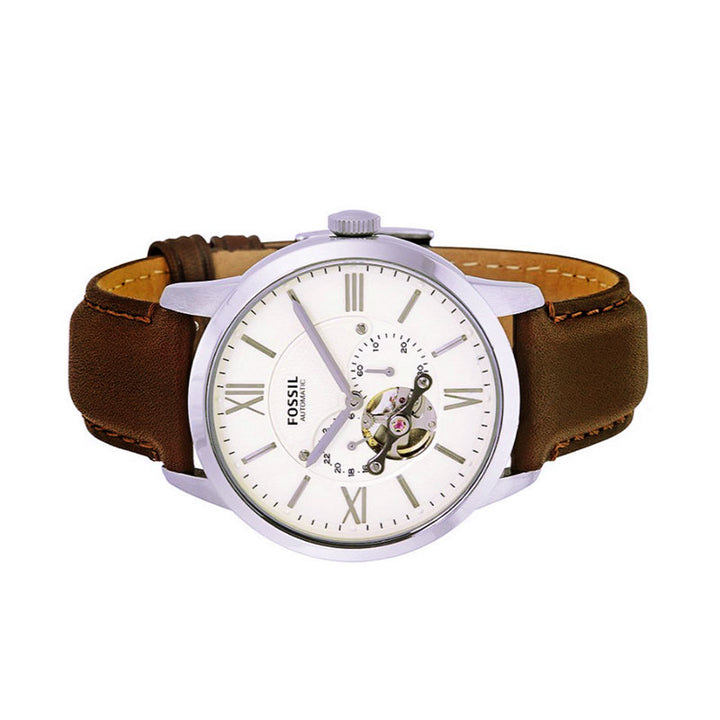 Fossil Townsman Mechanical Cream Dial Leather Strap Men's Watch ME3064