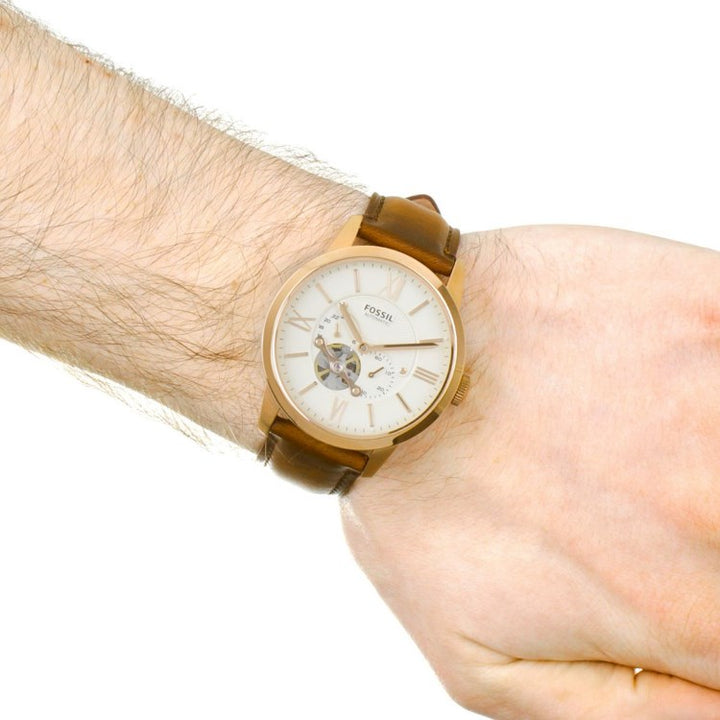 Fossil Townsman Beige Dial Men's Automatic Watch ME3105