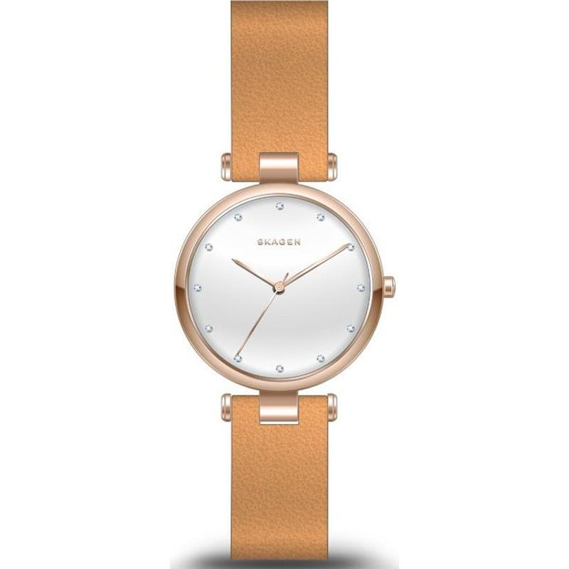 Skagen Tanja Silver Dial Brown Leather Ladies Watch SKW2514