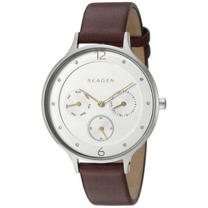 Skagen Anita Burgundy Leather Strap Ladies Watch SKW2394