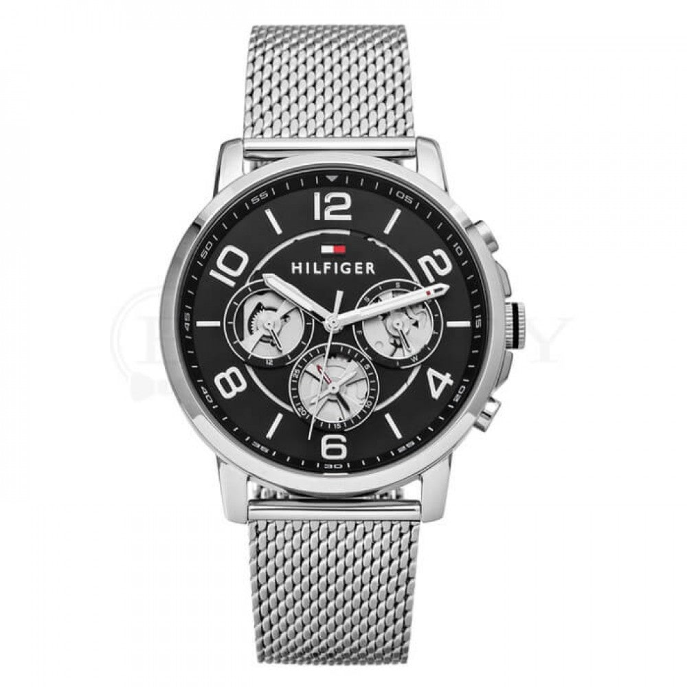 Tommy Hilfiger Black Dial Stainless Steel Mesh Men's Watch 1791292