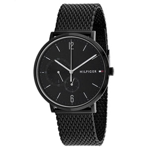 Tommy Hilfiger Black Dial Stainless Steel Mesh Men's Watch 1791507