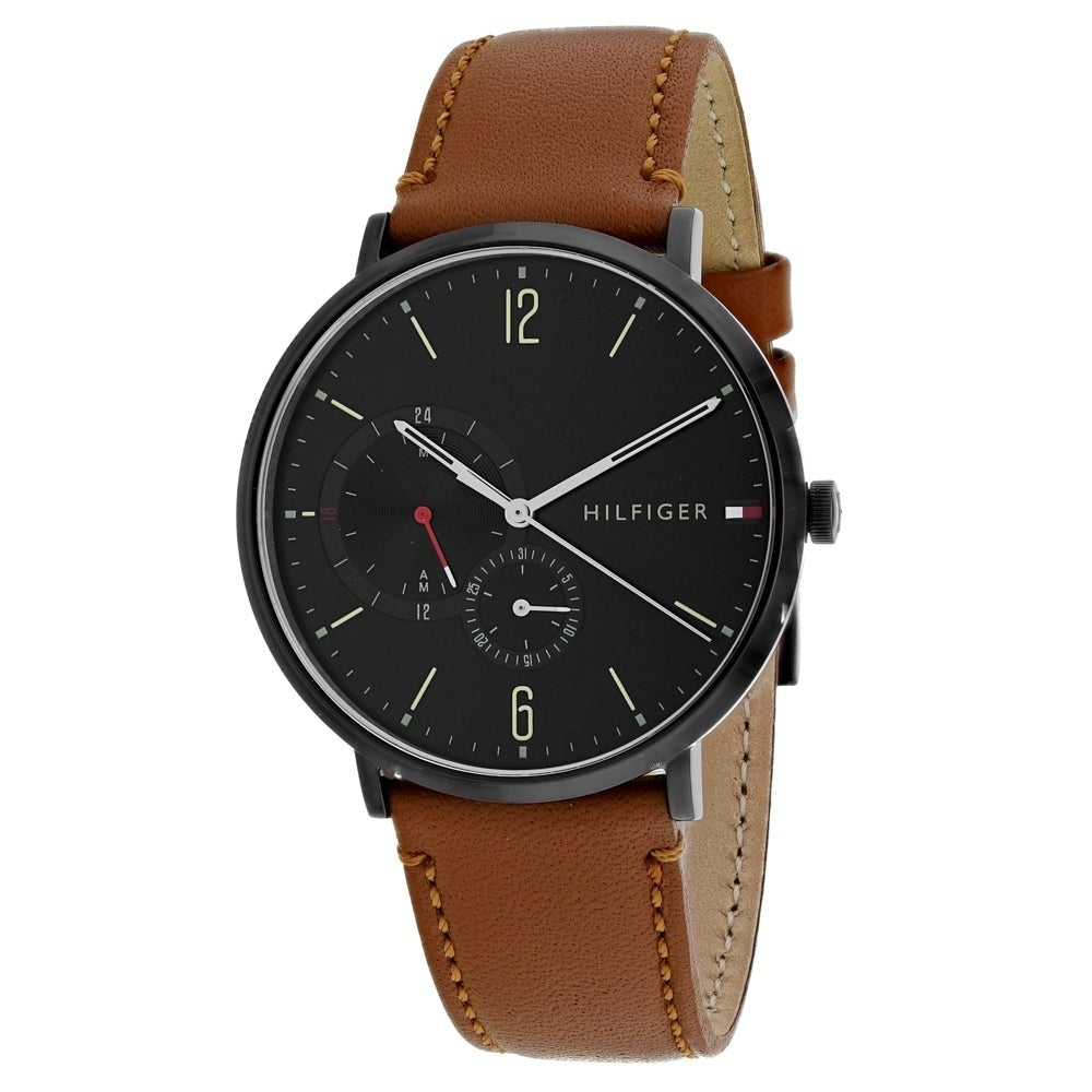 Tommy Hilfiger Black Dial Brown Leather Strap Men's Watch 1791510