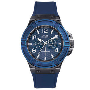 Guess Rigor Multi-Function Blue Silicone Strap Men's Watch W0248G5