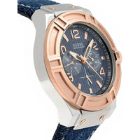 Guess Rigor Blue Dial Leather Strap Men's Watch W0040G6
