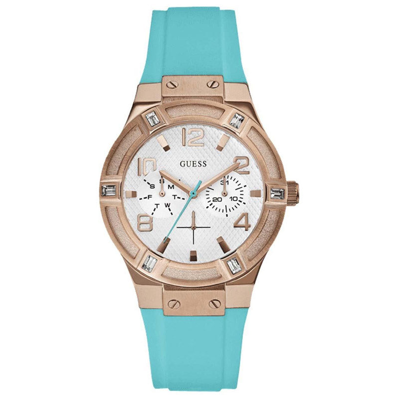 Guess Jet Setter Silver Dial Silicone Strap Ladies Watch W0564L3