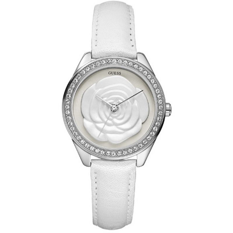 Guess Rosette White Dial Leather Strap Ladies Watch W75043L1