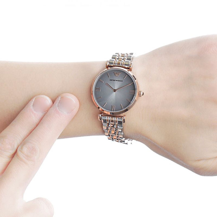 Emporio Armani Classic Grey Dial Two-Tone Ladies Watch AR1725