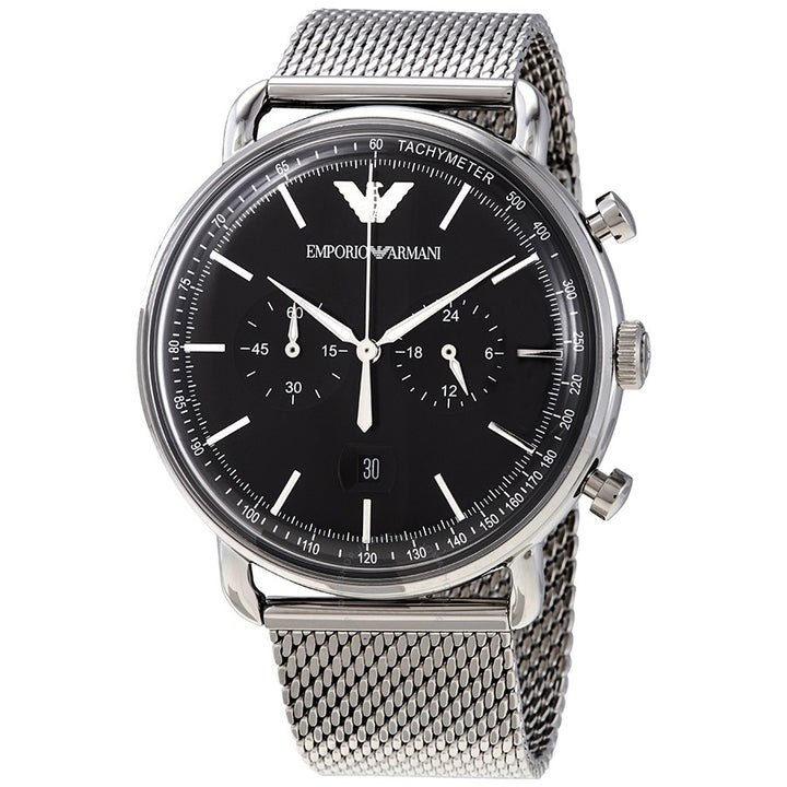 Emporio Armani Aviator Chronograph Black Dial Men's Watch AR11104 Water resistance: 50 meters / 165 feet Movement: Quartz