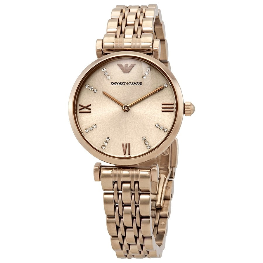 Emporio Armani Gianni T-Bar Crystal Rose Gold Dial Ladies Watch AR11059